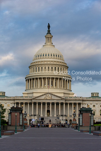Sunrise light paints the United States Capitol on the morning that A United States Military Honor Guard will carry the casket of former Senator John McCain, Republican of Arizona, up the stairs of the Capitol in Washington, DC on August 31, 2018 in Washington, DC. McCain, a United States Military veteran and longtime Senator, will lay in state inside the Capitol Rotunda for one day prior to being laid to rest on September 1, 2018 at the United States Naval Academy in Annapolis, Maryland. Credit: Alex Edelman / CNP