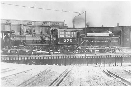 Fireman's-side view of D&amp;RGW #375 on Salida turntable.<br /> D&amp;RGW  Salida, CO