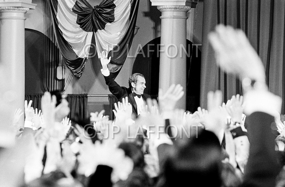 January 1973, Washington, DC, USA --- President Richard Nixon attends his investiture as he embarks on a second term of office at the Capitol. --- Image by © JP Laffont