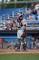 Mahoning Valley Scrappers catcher Gian Paul Gonzalez (4) during a game against the Batavia Muckdogs on August 16, 2017 at Dwyer Stadium in Batavia, New York.  Batavia defeated Mahoning Valley 10-6.  (Mike Janes/Four Seam Images)