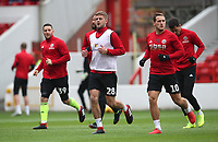 Sheffield United Conor Washington, Sheffield United's Martin Cranie, Sheffield United's Billy Sharp during the pre-match warm-up <br /> <br /> Photographer Rachel Holborn/CameraSport<br /> <br /> The EFL Sky Bet Championship - Nottingham Forest v Sheffield United - Saturday 3rd November 2018 - The City Ground - Nottingham<br /> <br /> World Copyright &copy; 2018 CameraSport. All rights reserved. 43 Linden Ave. Countesthorpe. Leicester. England. LE8 5PG - Tel: +44 (0) 116 277 4147 - admin@camerasport.com - www.camerasport.com