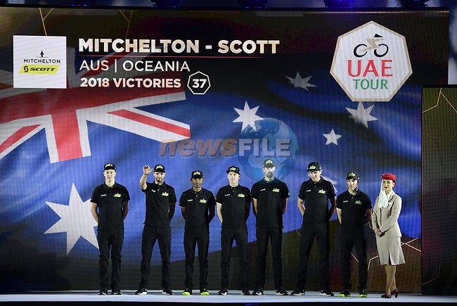 Mitchelton-Scott team on stage at the inaugural UAE Tour 2019 opening ceremony and team presentation held in the Louvre Abu Dhabi, United Arab Emirates. 23rd February 2019.<br /> Picture: LaPresse/Fabio Ferrari | Cyclefile<br /> <br /> <br /> All photos usage must carry mandatory copyright credit (© Cyclefile | LaPresse/Fabio Ferrari)