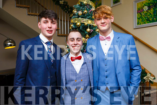 Sean Daly, Johnny Downy and Nikolay Tilitchik from Tralee attending the Mercy Mounthawk debs in the Ballyroe Heights Hotel on Thursday night last.