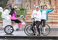 TV Celebrity Lorraine Kelly and cycling legend Graeme Obree back Sky Ride Glasgow and freshnlo Pedal for Scotland at the launch at the People's Palace, Glasgow Green, Glasgow on 11.9.11.