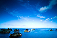 The Atlantic Ocean under a very blue sky near Santa Cruz das Flores, in Flores Island, Azores