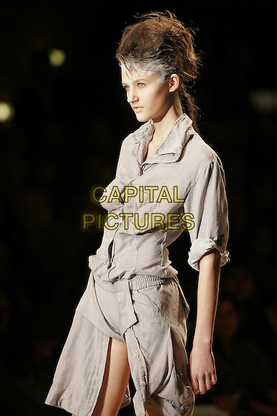 MODEL.Vivienne Westwood ready to wear Spring/Summer Collection 2005, Paris, France, .October 5th 2004..half length fashion show catwalk white hair powder talc grey shirt dress .Ref: MDS.www.capitalpictures.com.sales@capitalpictures.com.©O.Medias/Capital Pictures .