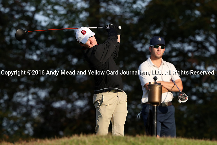 31 October 2016: NC State University's Justin Hood. The Third Round of the 2016 Bridgestone Golf Collegiate NCAA Men's Golf Tournament hosted by the University of North Carolina Greensboro Spartans was held on the West Course at the Grandover Resort in Greensboro, North Carolina.