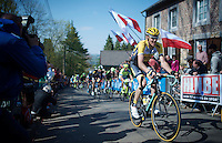 Robert Gesink (NLD/Team LottoNL-Jumbo) up the infamous Mur de Huy (1300m/9.8%)<br /> <br /> 79th Flèche Wallonne 2015