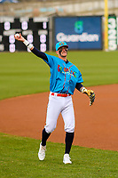 Wisconsin Timber Rattlers second baseman Brice Turang (2) warms up in the outfield prior to a Midwest League game against the Lake County Captains on May 10, 2019 at Fox Cities Stadium in Appleton, Wisconsin. Wisconsin defeated Lake County 5-4. (Brad Krause/Four Seam Images)