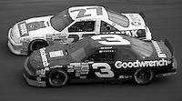 Dale Earnhardt (3) Chevrolet 1st place winner Rusty Wallace (27) Pontiac 15th place battle side by side Atlanta Journal 500 at Atlanta International Raceway in Hampton , GA on November 19, 1989.  (Photo by Brian Cleary/www.bcpix.com)