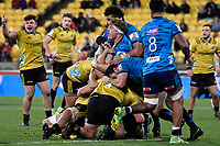 Blues' Blake Gibson in action during the Super Rugby - Hurricanes v Blues at Westpac Stadium, Wellington, New Zealand on Saturday 7 July 2018.<br /> Photo by Masanori Udagawa. <br /> www.photowellington.photoshelter.com