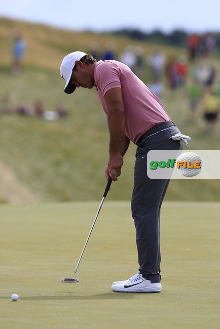 Brooks Koepka (USA) putts on the 8th green during Saturday's Round 3 of the 117th U.S. Open Championship 2017 held at Erin Hills, Erin, Wisconsin, USA. 17th June 2017.<br /> Picture: Eoin Clarke | Golffile<br /> <br /> <br /> All photos usage must carry mandatory copyright credit (&copy; Golffile | Eoin Clarke)