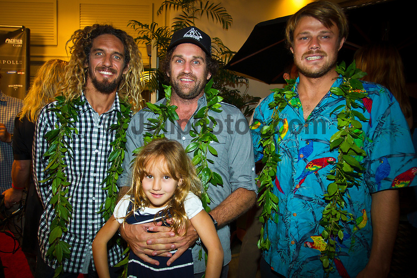 Haleiwa Hawaii, (Monday December 6, 2010) .Monday, Rob Machado (USA) Taylor Steele (USA) and Dane Reynolds (USA).  40th annual SURFER Poll Awards were held tonight at Turtle Bay Resort on Oahu's North Shore..Sal Masekela (USA)  returned to serve as the Master of Ceremonies for the event with charismatic Hawaiian surf star Fred Patacchia as co-host .This year's SURFER Poll Awards were held in honor of recently lost legend, three-time World Champion Andy Irons. While acknowledging all of the surfers lost this year, the event  put a heavy focus on Andy and the legacy he leaves behind in and out of the water. Another focal point of this year's show was  Kelly Slater's 10th world title win. Touted as the world's most dominant athlete, Kelly's accomplishments have catapulted the sport of surfing and garnered the world's attention. Kelly was award the male Surfer of the Year award with Stephanie Gilmore (AUS) taking out the Female Surfer of the Year..Photo: joliphotos.com