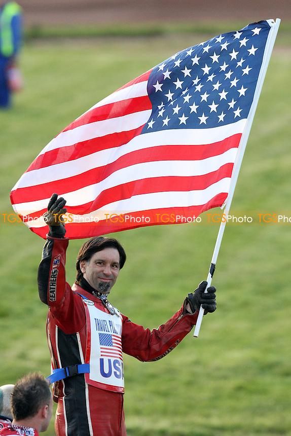 Eddie Castro holds the Stars and Stripes aloft - Hackney Hawks vs Team America - Speedway Challenge Meeting at Rye House - 09/04/11 - MANDATORY CREDIT: Gavin Ellis/TGSPHOTO - Self billing applies where appropriate - Tel: 0845 094 6026