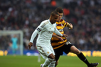 Pictured: (L-R) Wayne Routledge, Curtis Good. Sunday 24 February 2013<br /> Re: Capital One Cup football final, Swansea v Bradford at the Wembley Stadium in London.