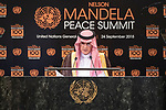 Opening Plenary Meeting of the Nelson Mandela Peace Summit<br /> <br /> His Excellency Adel Ahmed AL-JUBEIRMinister for Foreign Affairs of Saudi Arabia(on behalf of the Arab Group)