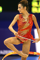 Almudena Cid of Spain turns with ribbon during event final at World Championships in Baku, Azerbaijan on October 6, 2005. (Photo by Tom Theobald)