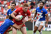 2nd February 2019, Spotless Stadium, Sydney, Australia; HSBC Sydney Rugby Sevens; Canada versus France; Connor Braid of Canada is tackled by Pierre Boudehent of France