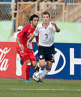 Tyler Polak controls the ball. US Under-17 Men's National Team defeated United Arab Emirates 1-0 at Gateway International  Stadium in Ijebu-Ode, Nigeria on November 1, 2009.