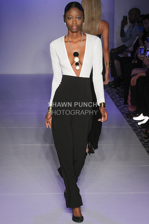 Model walks runway with jewelry from The Gem Chronicles Spring Summer 2016 collection by Ursula Urrutia, at the Designer's Premier Spring 2016 for Fashion Gallery NYFW, during New York Fashion Week Spring 2016.