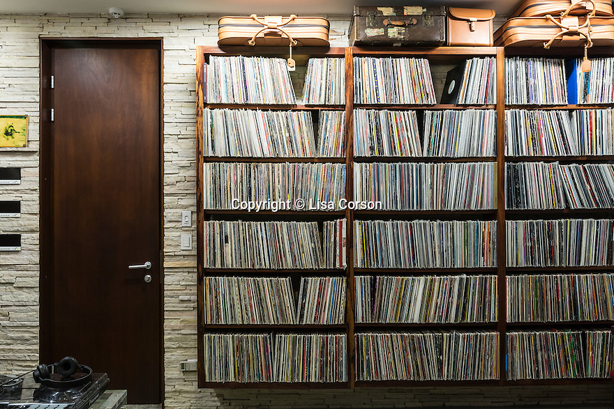 Records line one wall of the studio in Derek Ferguson's home, Casa Torcida, in Peninsula de Osa, Puntarenas, Costa Rica. CREDIT: Lisa Corson for The Wall Street Journal     SLUG: OFFGRID-Costa Rica Images are available for editorial licensing, either directly or through Gallery Stock. Some images are available for commercial licensing. Please contact lisa@lisacorsonphotography.com for more information.