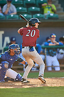 Clay Dungan (20) of the Idaho Falls Chukars at bat against the Ogden Raptors at Lindquist Field on August 9, 2019 in Ogden, Utah. The Raptors defeated the Chukars 8-3. (Stephen Smith/Four Seam Images)