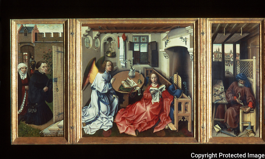 Paintings:  Robert Campin--Merode Altarpiece, c. 1425.  Center panel, 2 wings.  Cloisters.  Met. Museum of Art.  Reference only.