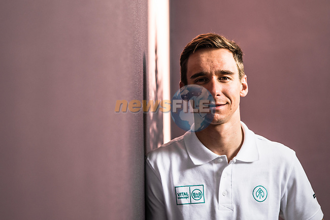 Bryan Coquard (FRA) Vital Concept-B&B Hotels at the top riders press conference before the start of 10th Tour of Oman 2019, Muscat, Oman. 15th February 2019.<br /> Picture: ASO/Kåre Dehlie Thorstad | Cyclefile<br /> All photos usage must carry mandatory copyright credit (© Cyclefile | ASO/Kåre Dehlie Thorstad)