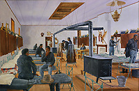 Soldiers in the barracks, 1882-84, painting by Clyde Heron, at Fort Davis National Historic Site, a US army fort established 1854, in a canyon in the Davis Mountains in West Texas, USA. The fort was built to protect emigrants, mail coaches, and freight wagons on the trails through the State from Comanche and Apache Indians. After the Civil War, several African-American regiments were stationed here. By the 1880s, the fort consisted of one 100 buildings, housing over 400 soldiers. It was abandoned in 1891, but many buildings have been restored and the compound now operates as a historical site and museum. Picture by Manuel Cohen
