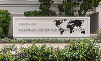 New sign for Johnson Hall's McKinnon Center for Global Affairs on the Occidental College Los Angeles campus, April 25, 2014. (Photo by Marc Campos, Occidental College Photographer)