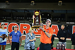 ATHENS, GA - MAY 23: Head Coach Roland Thornqvist of the University of Florida celebrates after defeating Stanford University during the Division I Women's Tennis Championship held at the Dan Magill Tennis Complex on the University of Georgia campus on May 23, 2017 in Athens, Georgia. (Photo by Steve Nowland/NCAA Photos via Getty Images)