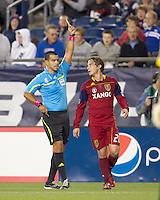 Real Salt Lake midfielder Ned Grabavoy (20) receives yellow card. Real Salt Lake defeated the New England Revolution, 2-1, at Gillette Stadium on October 2, 2010.