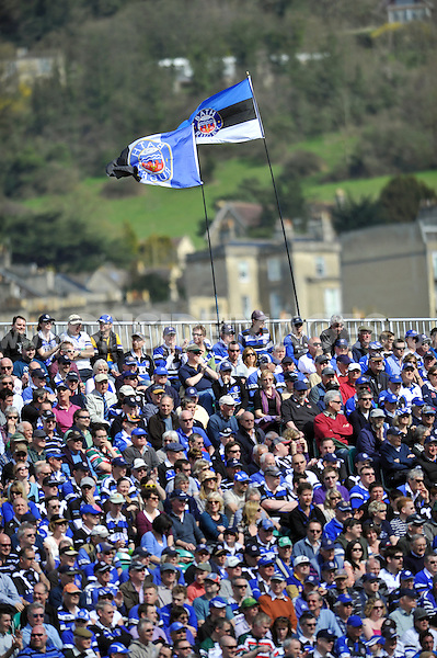 A view of the Bath crowd in the Novia Stand of the Recreation Ground. Aviva Premiership match, between Bath Rugby and Leicester Tigers on April 20, 2013 at the Recreation Ground in Bath, England. Photo by: Patrick Khachfe / Onside Images