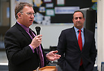 Ian Hill, right, listens as Chris Askin, president of the Community Foundation of Western Nevada, speaks at a ceremony launching the Carson City School District Foundation at Carson High School, in Carson City, Nev., on Wednesday, Feb. 18, 2015. <br /> Photo by Cathleen Allison