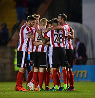 Lincoln City's Harry Anderson celebrates scoring the opening goal with team-mates<br /> <br /> Photographer Chris Vaughan/CameraSport<br /> <br /> Vanarama National League - Lincoln City v Chester - Tuesday 11th April 2017 - Sincil Bank - Lincoln<br /> <br /> World Copyright &copy; 2017 CameraSport. All rights reserved. 43 Linden Ave. Countesthorpe. Leicester. England. LE8 5PG - Tel: +44 (0) 116 277 4147 - admin@camerasport.com - www.camerasport.com