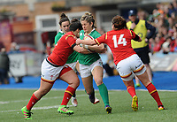 Ireland's Alison Miller is tackled by Wales' Elen Evans<br /> <br /> Photographer Ian Cook/CameraSport<br /> <br /> Women's Six Nations Round 4 - Wales Women v Ireland Women - Saturday 11th March 2017 - Cardiff Arms Park - Cardiff<br /> <br /> World Copyright &copy; 2017 CameraSport. All rights reserved. 43 Linden Ave. Countesthorpe. Leicester. England. LE8 5PG - Tel: +44 (0) 116 277 4147 - admin@camerasport.com - www.camerasport.com