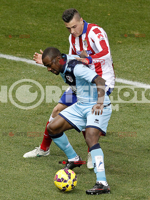 Atletico de Madrid's Jose Maria Gimenez (t) and Rayo Vallecano's Gael Kakuta during La Liga match.January 24,2015. (ALTERPHOTOS/Acero) /NortePhoto<br />