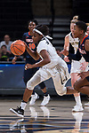 Amber Campbell (2) of the Wake Forest Demon Deacons pushes the ball up the court during first half action against the Virginia Cavaliers at the LJVM Coliseum on February 25, 2018 in Winston-Salem, North Carolina. The Cavaliers defeated the Demon Deacons 48-41. (Brian Westerholt/Sports On Film)