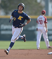 NWA Democrat-Gazette/ANDY SHUPE<br />Kent State right fielder Nick Kanavas rounds the bases Friday, March 9, 2018, after hitting a solo home run against Arkansas during the first inning at Baum Stadium in Fayetteville. Visit nwadg.com/photos to see more photographs from the game.