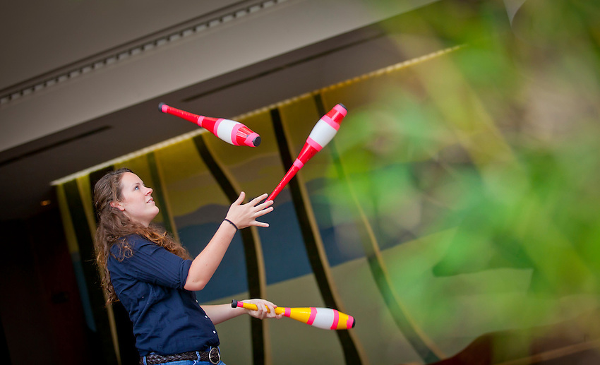 Creative and Performing Arts fellowship recipients for the Class of 2014 Alyson Shumeyko, 2014, poses  with her juggling clubs