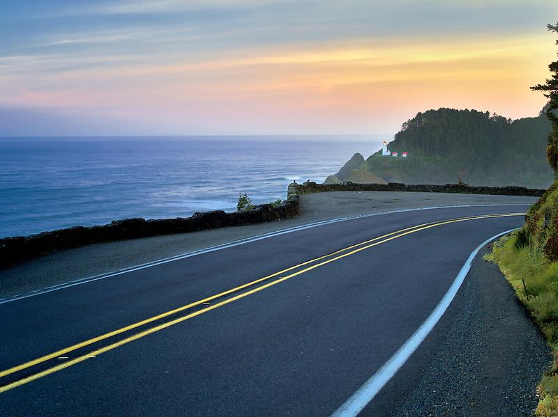 Road leading to Heceta Lighthouse at sunrise. Oregon
