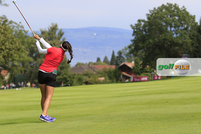 Gerina Piller (USA) plays her 2nd shot on the 13th hole during Sunday's Final Round of the LPGA 2015 Evian Championship, held at the Evian Resort Golf Club, Evian les Bains, France. 13th September 2015.<br /> Picture Eoin Clarke | Golffile