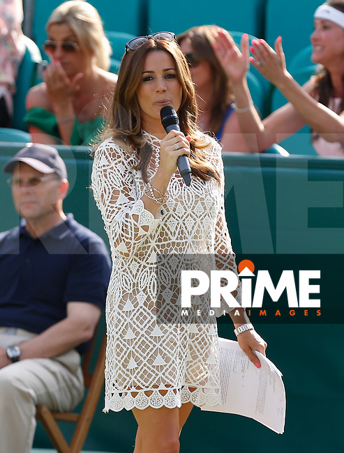 Natalie Pinkham (TV Presenter) during The Boodles Tennis 2015 tournament match at Stoke Park, Stoke Poges, England on 25 June 2015. Photo by Andy Rowland.