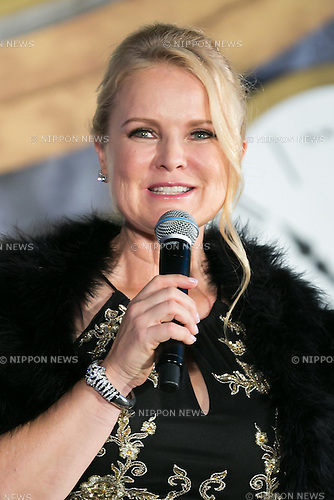 American film and television producer Suzanne Todd speaks during the Japan premiere for the film Alice Through the Looking Glass on June 21, 2016, Tokyo, Japan. Australian actress Mia Wasikowska wearing a elegant black dress was joined by producer Suzanne Todd and director James Bobin to promote their sequel to Alice in Wonderland (2010) at Roppongi Hills Arena. The film hits Japanese theaters on July 1st. (Photo by Rodrigo Reyes Marin/AFLO)