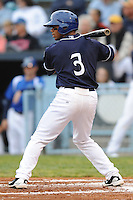Asheville Tourists Russell Wilson #3 awaits a pitch during a game against  the Lexington Legends at McCormick Field in Asheville,  North Carolina;  April 16, 2011. Lexington defeated Aheville 13-7.  Photo By Tony Farlow/Four Seam Images