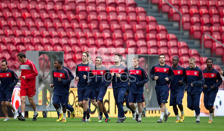 .during the USA men training session at Amsterdam ArenA  in preparation for their match against the Netherlands, March 2, 2010..