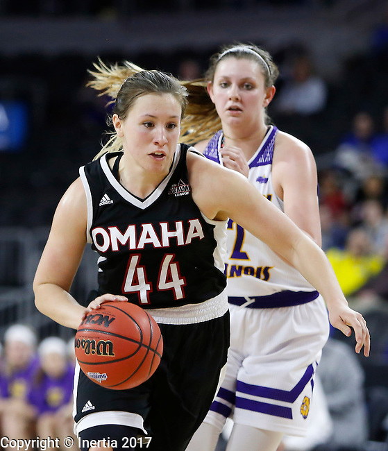SIOUX FALLS, SD: MARCH 6: Michaela Dapprich #44 of Omaha drives past Morgan Blumer #12 of Western Illinois during the Summit League Basketball Championship on March 6, 2017 at the Denny Sanford Premier Center in Sioux Falls, SD. (Photo by Dick Carlson/Inertia)