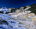 Lassen Volcanic National Park Bumpass Hell thermal pools and snow Northern California USA
