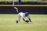 Josh Greene (1) of the High Point Panthers makes a diving catch of a line drive in center field against the LIU-Brooklyn Blackbirds at Willard Stadium on March 8, 2015 in High Point, North Carolina.  The Panthers defeated the Blackbirds 9-0.  (Brian Westerholt/Four Seam Images)