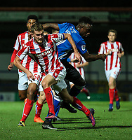 Rochdale's Jordan Slew is challenged by Stoke City's u23 Lewis Banks<br /> <br /> Photographer Juel Miah/CameraSport<br /> <br /> EFL Checkatrade Trophy - Northern Section Group C - Rochdale v Stoke City U23s - Tuesday 3rd October 2017 - Spotland Stadium - Rochdale<br />  <br /> World Copyright &copy; 2018 CameraSport. All rights reserved. 43 Linden Ave. Countesthorpe. Leicester. England. LE8 5PG - Tel: +44 (0) 116 277 4147 - admin@camerasport.com - www.camerasport.com